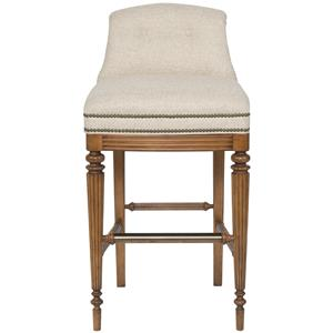 Armless Upholstered Bar Stool with Button Tufted Back
