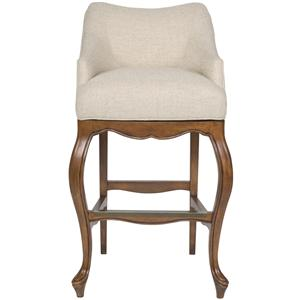 Upholstered Bar Stool with Short, Curved Back and Wood Base