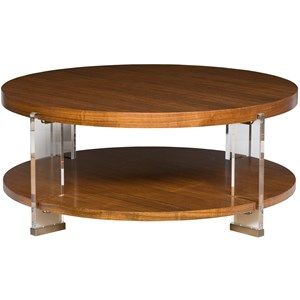 Dell Rey Round Cocktail Table with Clear Acrylic Legs