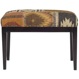 Ottoman with Upholstered Seat and Nail Head Trim