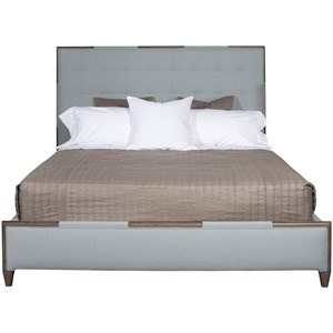Transitional King Upholstered Bed with Wood Trim