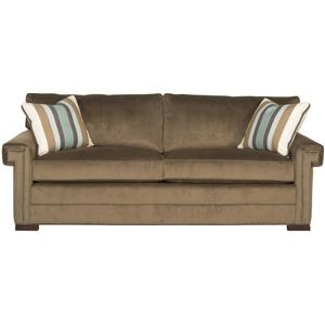 Transitional Two Cushion Sleeper Sofa with Greek Key Arms