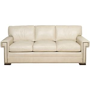 Transitional Three Cushion Sofa with Greek Key Arms