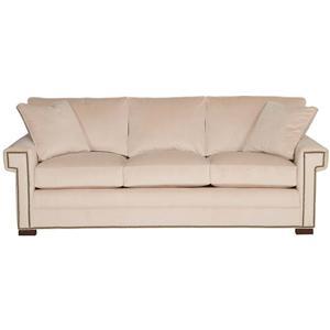 Transitional Three Cushion Sofa with Greek Key Arms