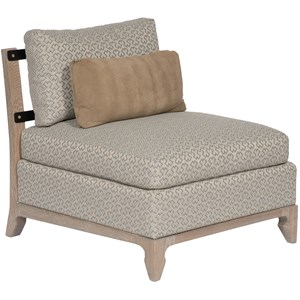 Contemporary Armless Accent Chair with Wood Trim and Optional Contrast Fabric on Back