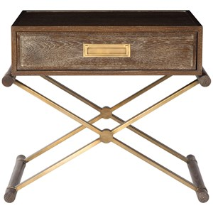Transitional Wood Nightstand Side Table with 1 Drawer and Satin Brass Hardware