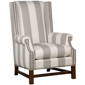 Albert Wing Chair with Wood Base and Nailheads