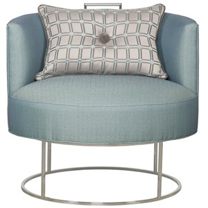 Roxy Swivel Chair with Metal Base and Button Toss Pillow