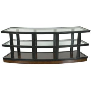 Fitz Curved Console Table with Glass Top and Shelves