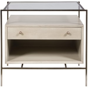 Brody Lamp Table with Glass Top and Floating Drawer Box