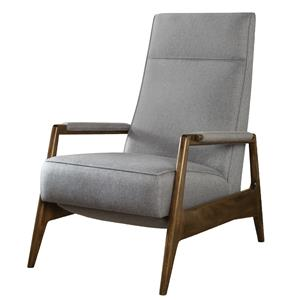 Contemporary Woodley Recliner with Exposed Wood Arms