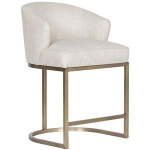 Charley Upholstered Counter Stool with Brass Base