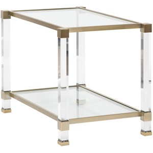 Contemporary Acrylic End Table with Glass Top and Satin Brass Trim