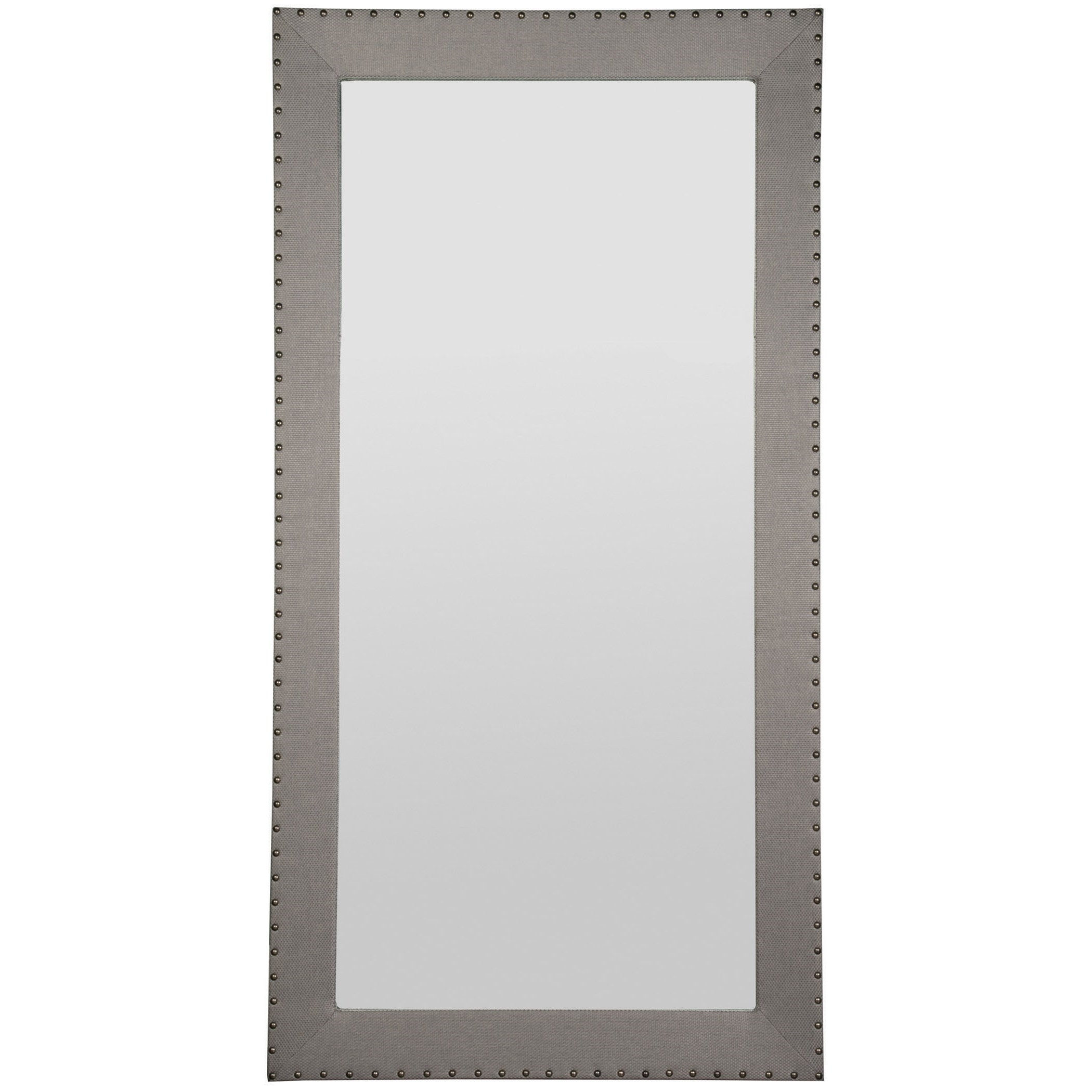 Thom Filicia Home Collection Corinithian Club Upholstered Floor Mirror by Vanguard Furniture at Baer's Furniture
