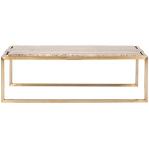 Glam Satin Brass Cocktail Table with Travertine Top