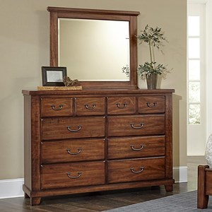 Solid Wood Cherry Bureau & Landscape Mirror