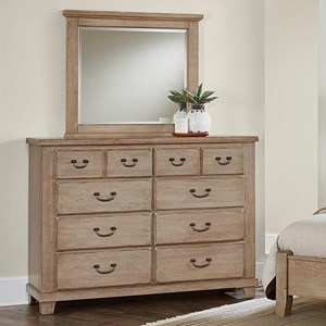 Solid Wood Cherry Bureau & Landscape Mirror