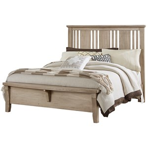 Solid Wood Cherry Queen Craftsman Bed w/ Bench Footboard