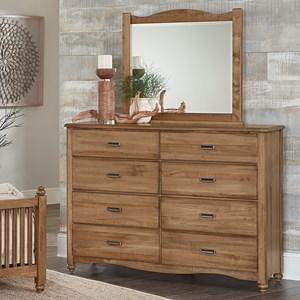 Solid Wood Bureau & Landscape Mirror
