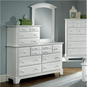 10 Drawer Dresser with Vertical Mirror