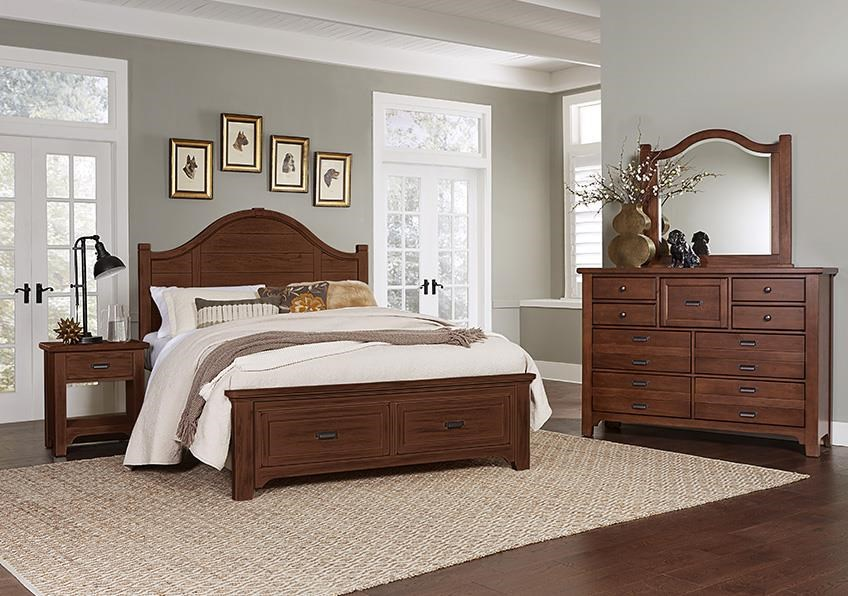 Bungalo Home King Storage Bed, Dresser, Mirror, Nighstan by Vaughan Bassett at Johnny Janosik