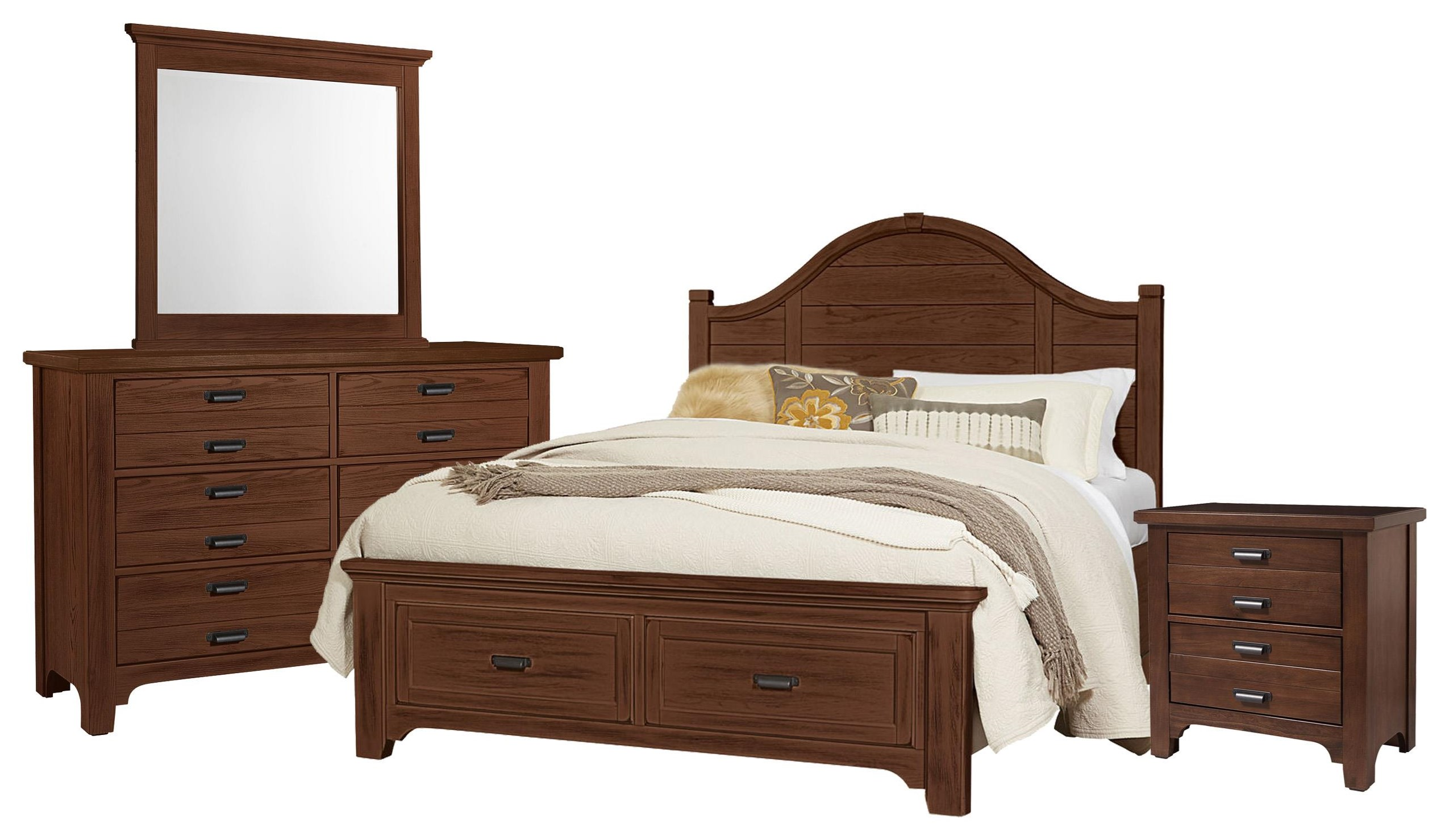Bungalo Home Queen Arch, Dresser, Mirror, Nightstand by Vaughan Bassett at Johnny Janosik