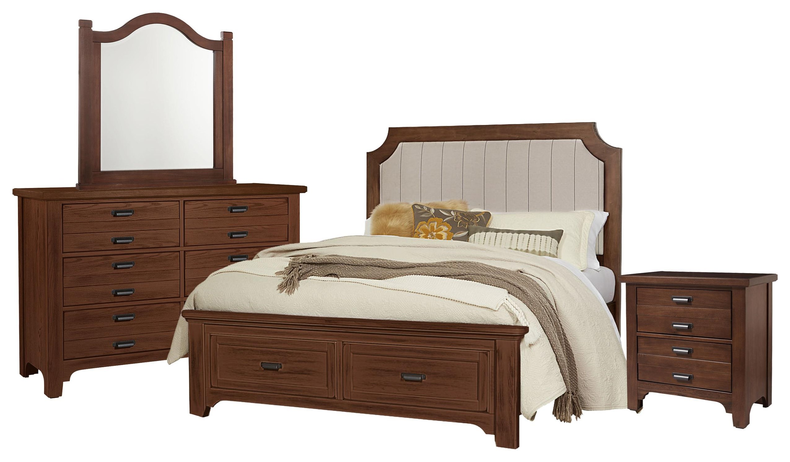 Bungalo Home King Bed, Dresser, Mirror, Nighstand by Vaughan Bassett at Johnny Janosik