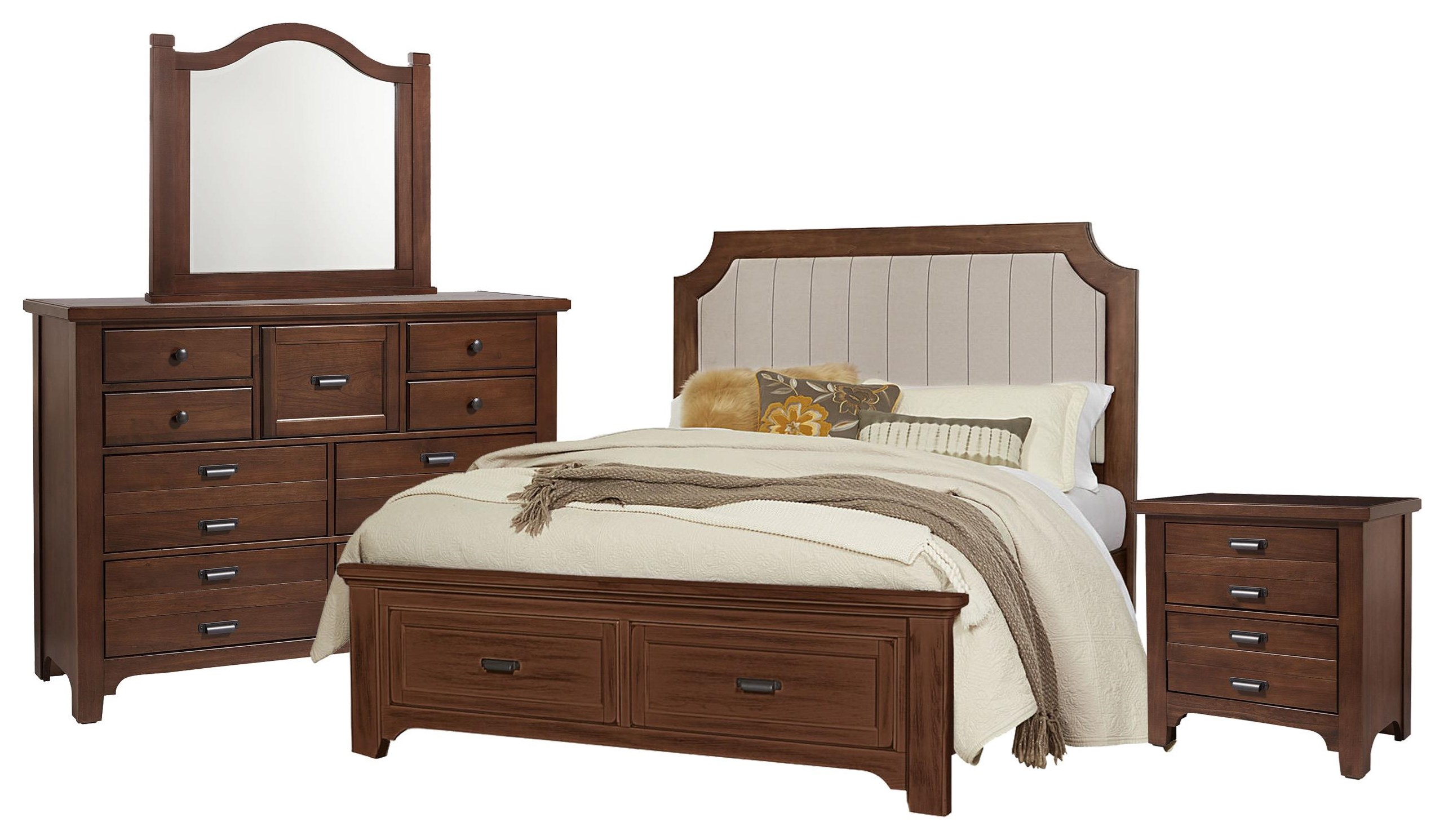 Bungalo Home Queen Bed, Dresser, Mirr by Vaughan Bassett at Johnny Janosik