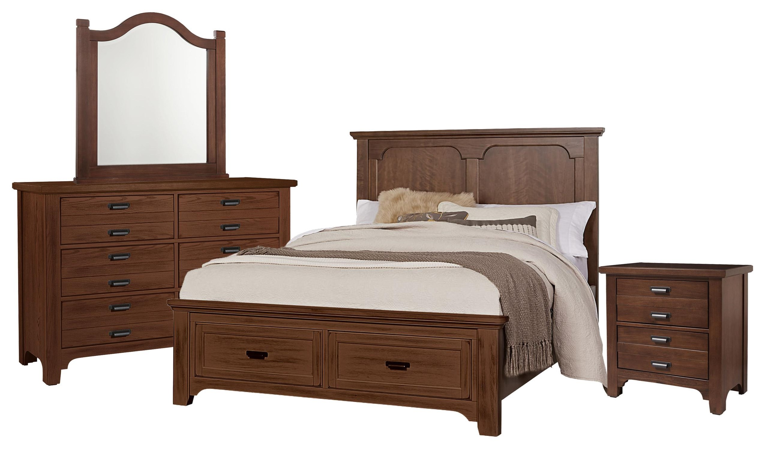 Bungalo Home Queen Panel Storage Bed, Dresser, Mirror, Ni by Vaughan Bassett at Johnny Janosik