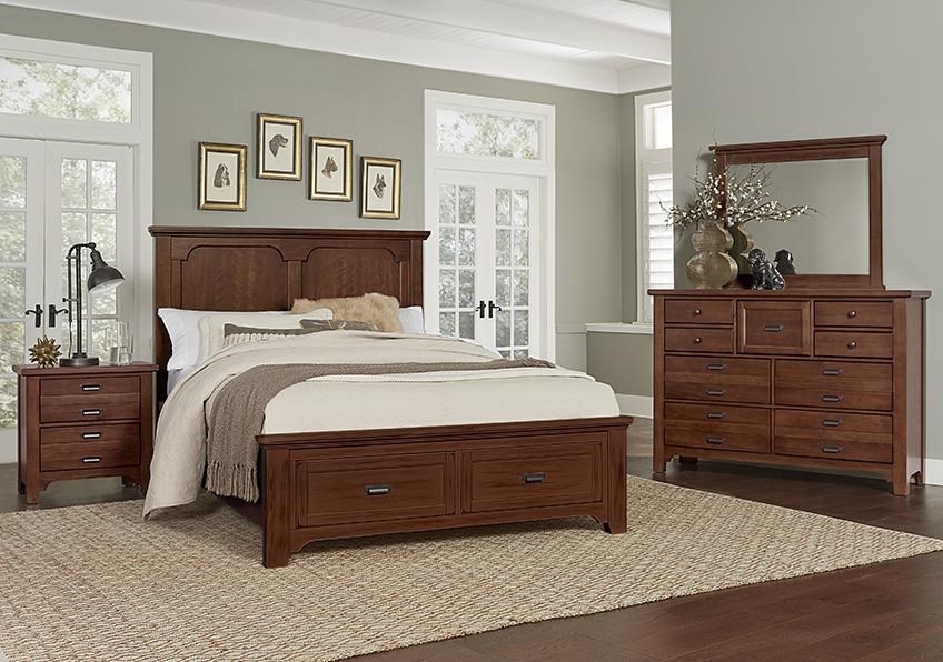 Bungalo Home King Bed, Dresser, Mirror, Nightstand by Vaughan Bassett at Johnny Janosik