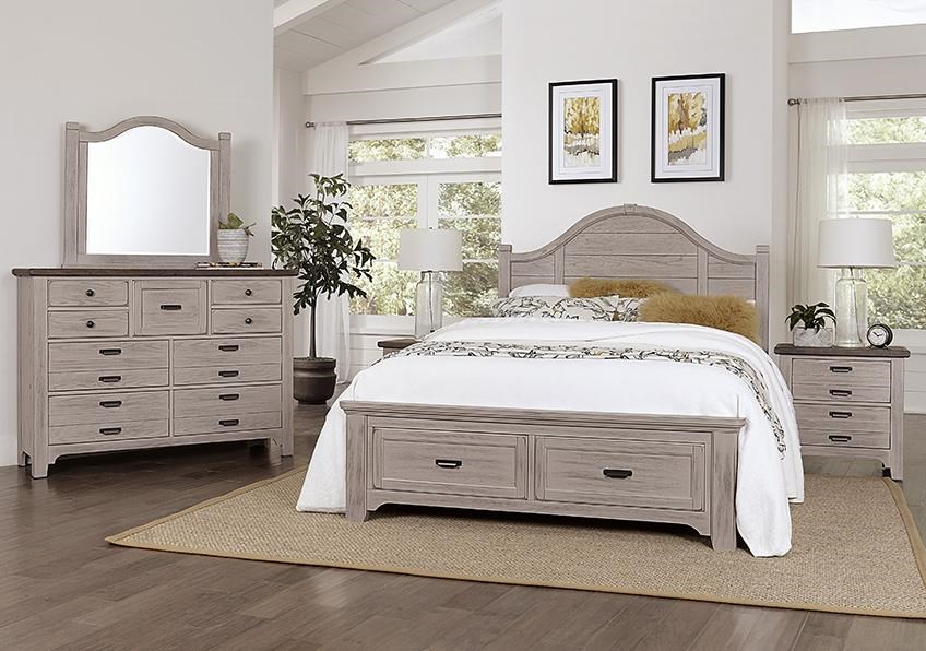 Bungalo Home King Storage Bed, Dresser, Mirror, Nighstand by Vaughan Bassett at Johnny Janosik