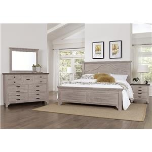 Queen Mantel Bed, Dresser, Mirror, Nightstan