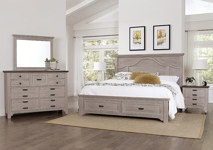 Bungalo Home Queen Mantel Storage Bed, Dresser, Mirror, N by Vaughan Bassett at Johnny Janosik