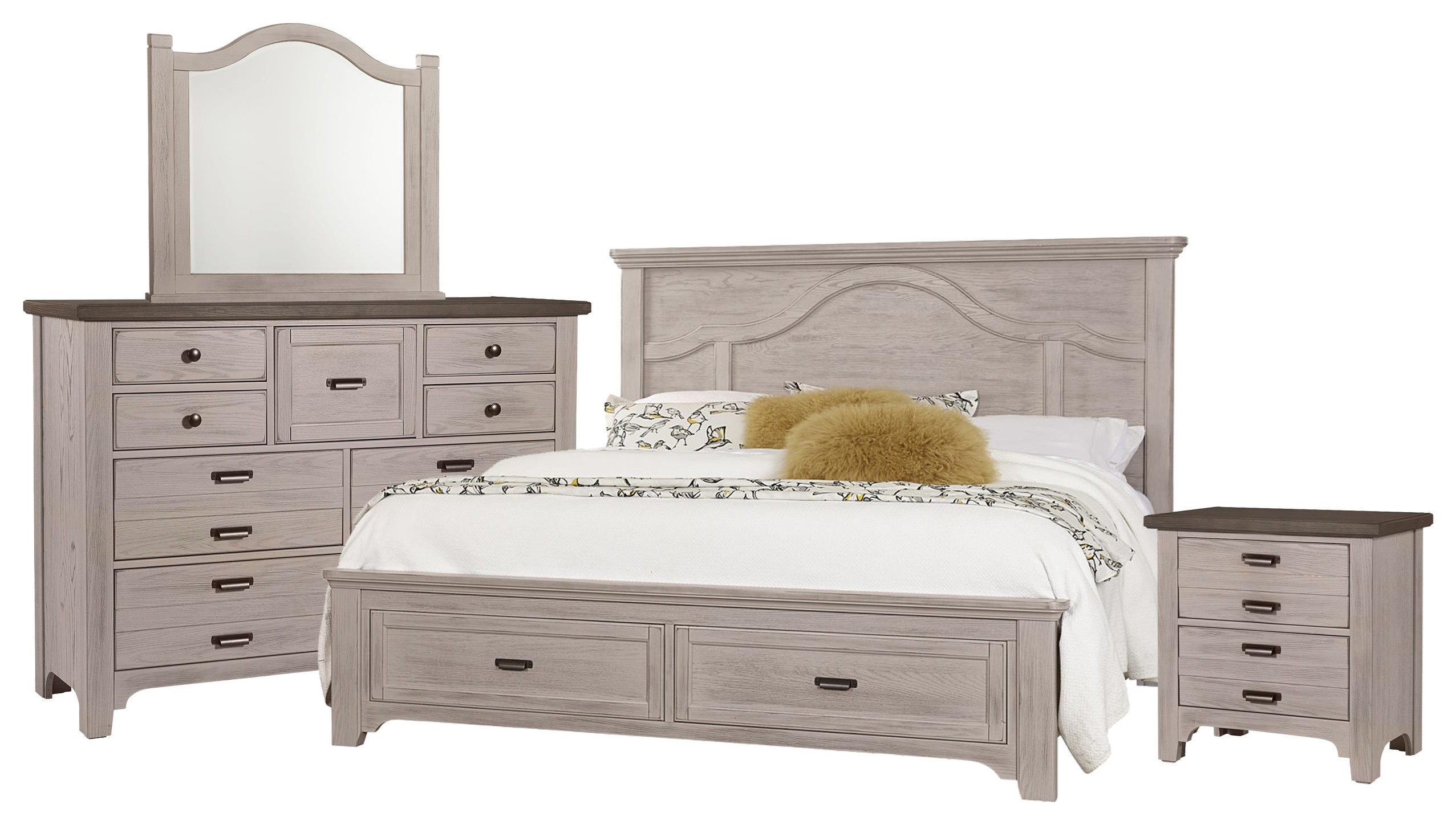 Bungalo Home Queen Bed, Dresser, Mirror, Nightstand by Vaughan Bassett at Johnny Janosik