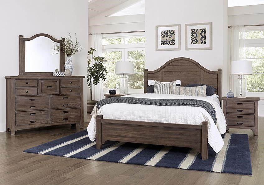 Bungalo Home King Arch Bed, Dresser, Mirror, Nightstand by Vaughan Bassett at Johnny Janosik