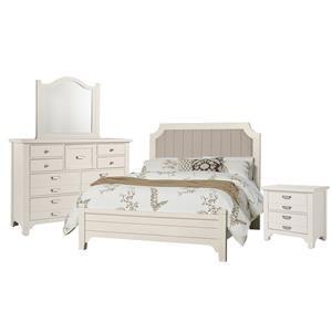 Queen Bed, Dresser, Mirror, Nigh
