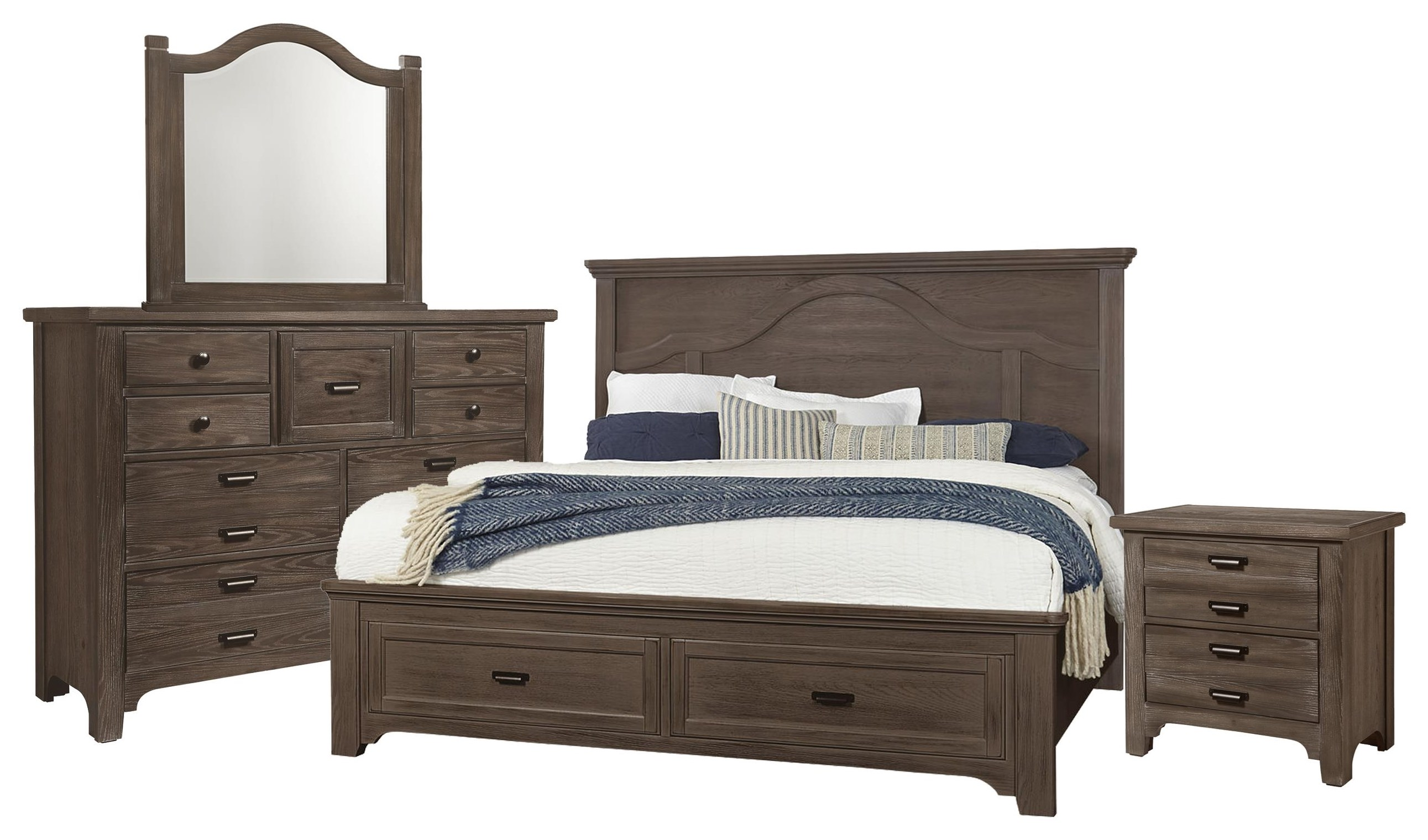 Bungalo Home King Mantel, Dresser,Mirror, Nightstand by Vaughan Bassett at Johnny Janosik