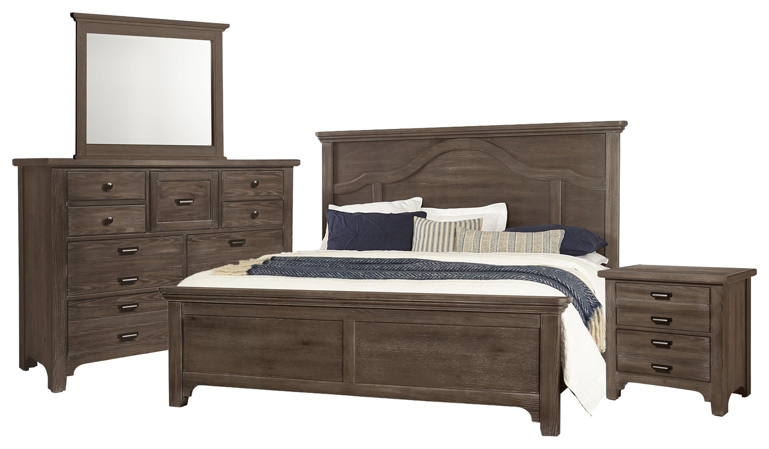 Bungalo Home King Mantel Bed, Dresser, Mirror, Nightstand by Vaughan Bassett at Johnny Janosik