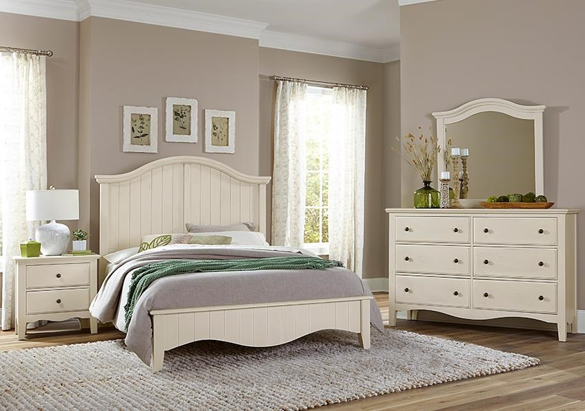 Casual Retreat King Arch Bed, Dresser, Mirror, Nightstand by Vaughan Bassett at Johnny Janosik