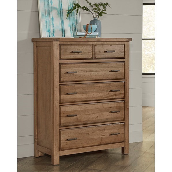 Chestnut Creek 5-Drawer Chest of Drawers by Vaughan Bassett at Zak's Home