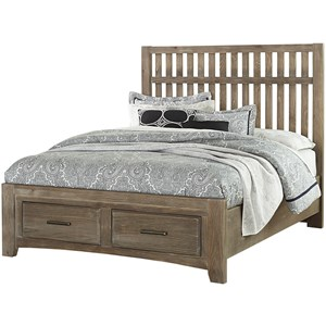 Vintage Queen Storage Bed with 2 Footboard Drawers