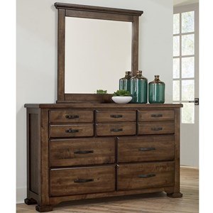 Casual Solid Wood 7-Drawer Dresser and Landscape Mirror Set
