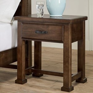 Casual Solid Wood 1-Drawer Nightstand