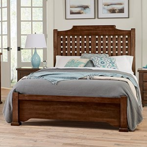 Casual Solid Wood King Low Profile Bed with Poster Headboard