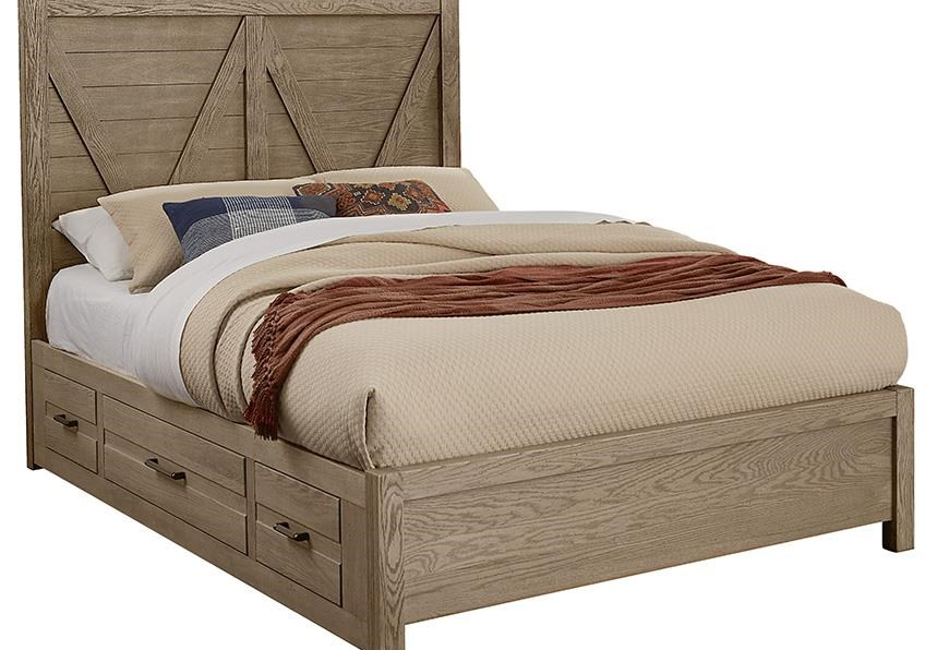 Highland QUEEN V PANEL BED With Drawers 2 SIDE by Vaughan Bassett at Johnny Janosik