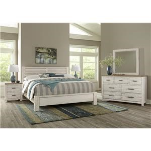 QUEEN PLANK BED, Dresser Mirror, Nightstand