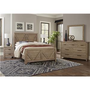 King V Panel, Dresser, Mirror, Nightstand