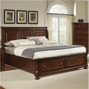 King Storage Bed with Sleigh Headboard