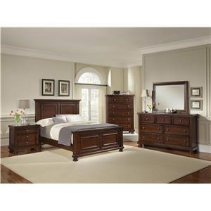 Vaughan Bassett Reflections King Mansion Bed, Dresser, Mirror & Nightsta