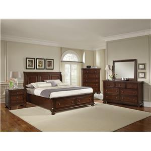 Vaughan Bassett Reflections King Storage Bed, Dresser, Mirror & Nighstan